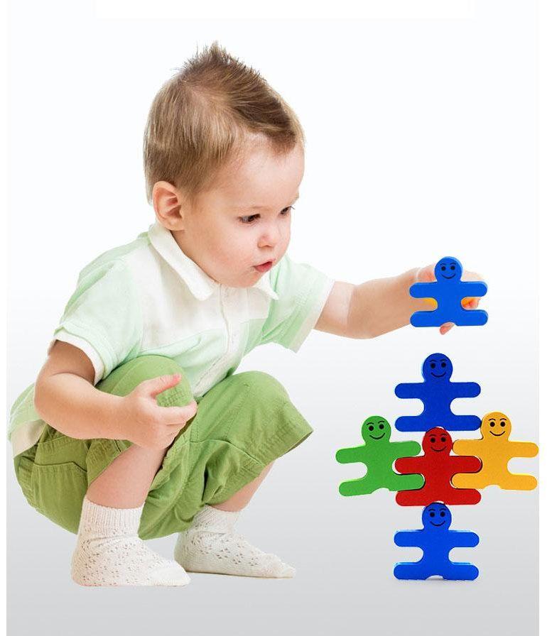 New creative wooden cartoon balance villain blocks - children's puzzle wooden building kindergarten early education toys