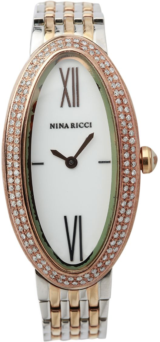 Nina Ricci Wrist Watch for Women Diamond Inlay Stainless Steel, Silver and Rose Gold