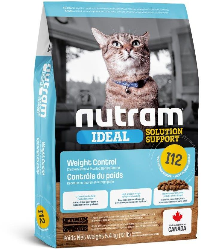 Nutram I12 Ideal Solution Support Weight Control Adult Cat Food, 5.4kg