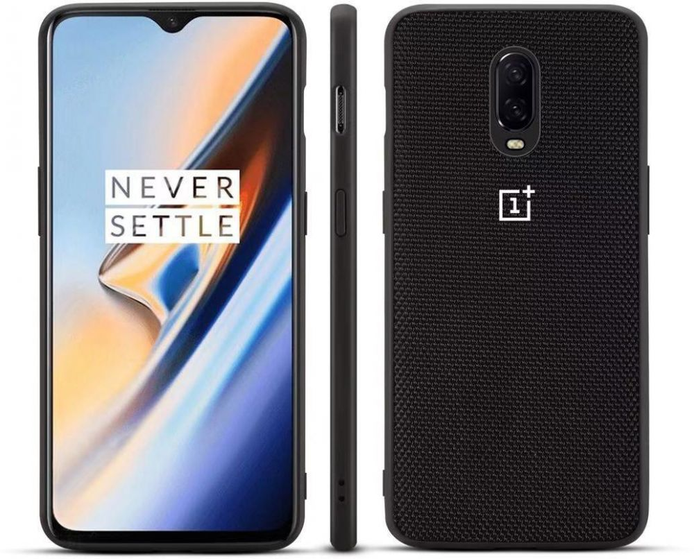 Oneplus 6T bumper black nylon style shell protective case cover (nylon pattern)
