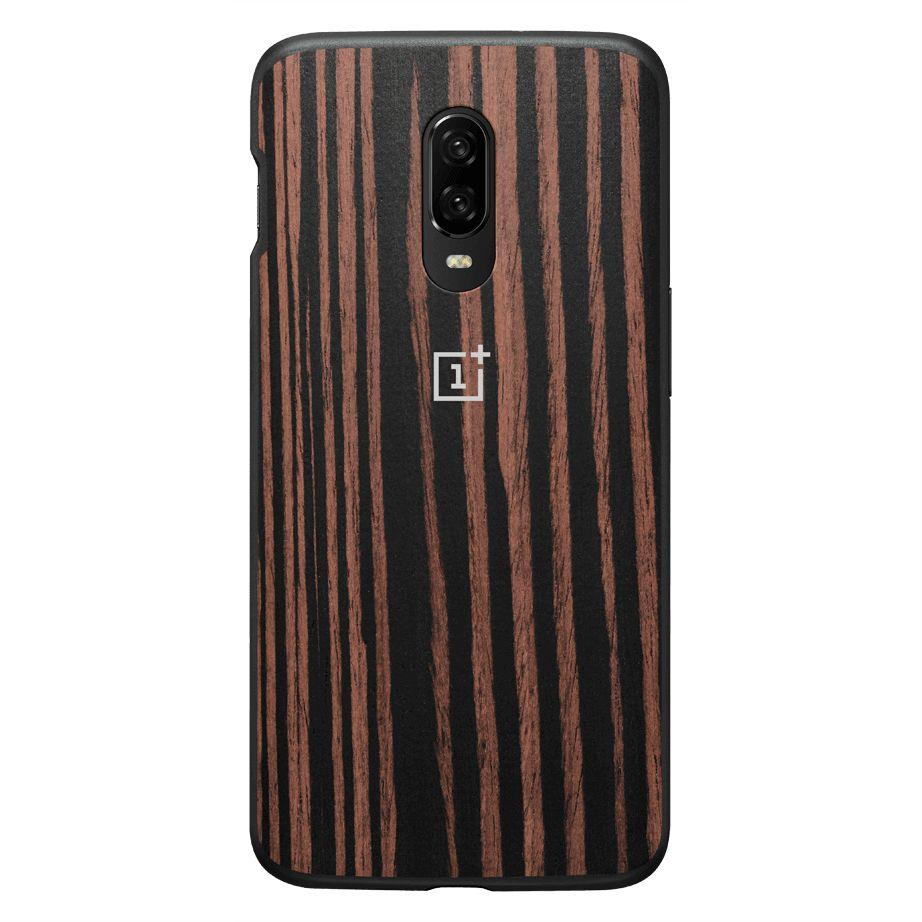 OnePlus 6T Ebony Wood Bumper Case - Brown