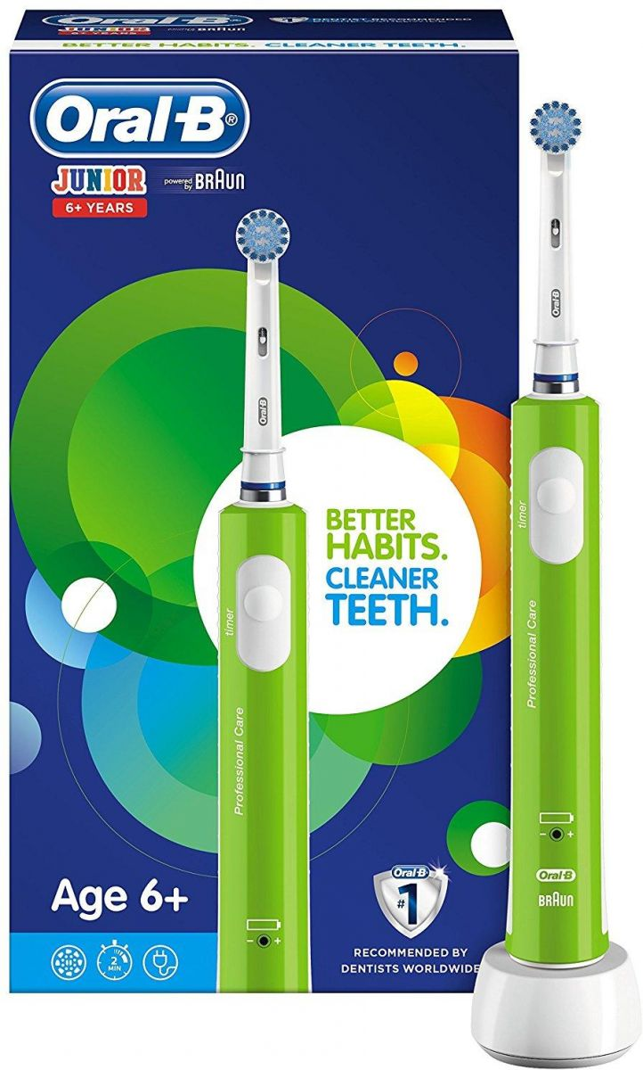 Oral-b junior electric rechargeable toothbrush powered by braun green for ages 6+
