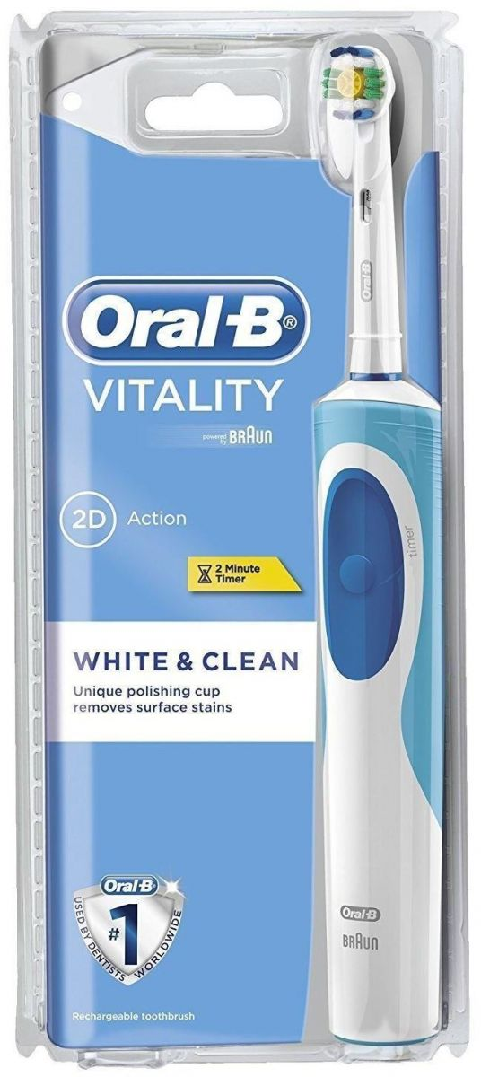 Oral-B Powered by Brown Vitality 2D Dual Clean Rechargeable Electric Toothbrush White & Clean