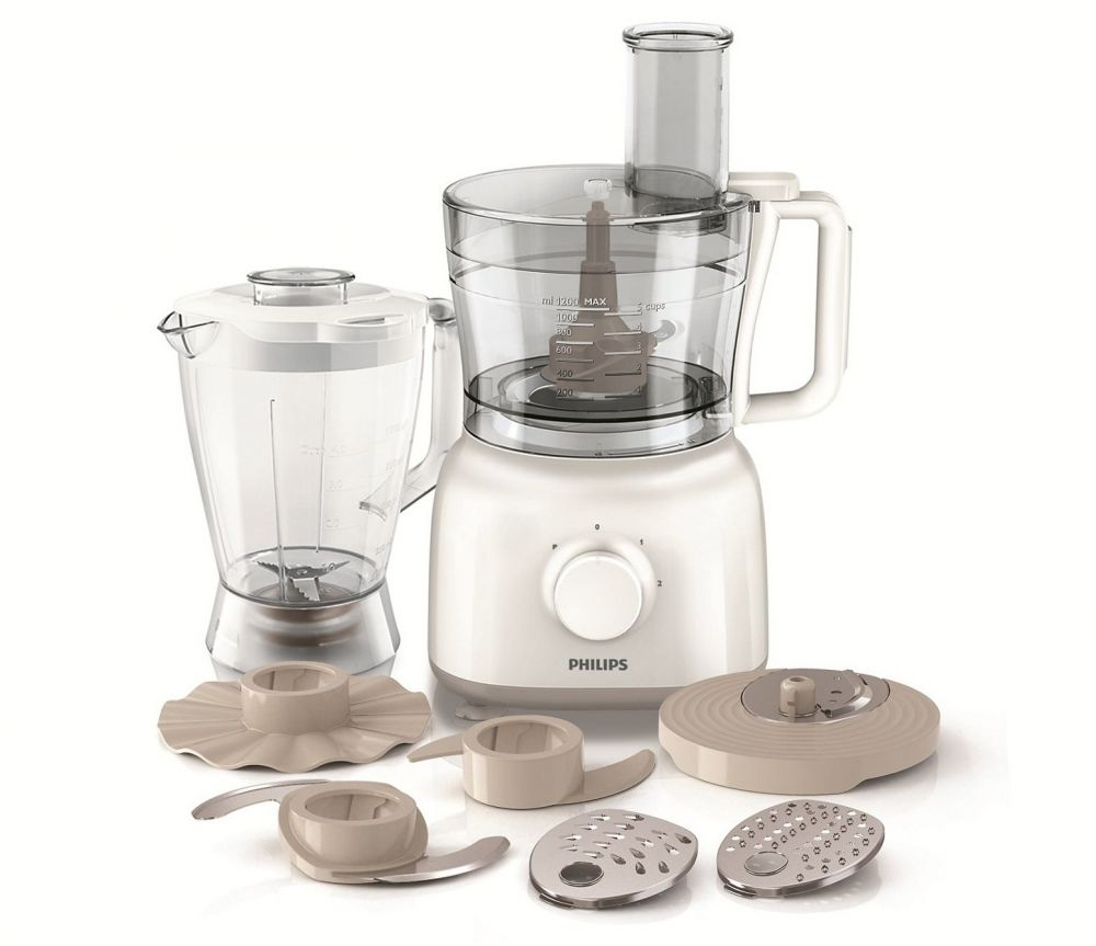 Philips HR7628 Daily Collection Food Processor 650 W, Compact 2 in 1 setup, 2.1 L bowl, Accessories for + 25 functions