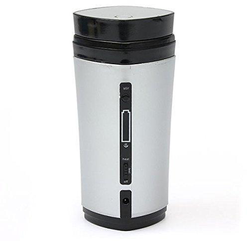 Portable USB Heater Self Stirring Tea Milk Cup Coffee Mug Winter Vacuum Flasks -white