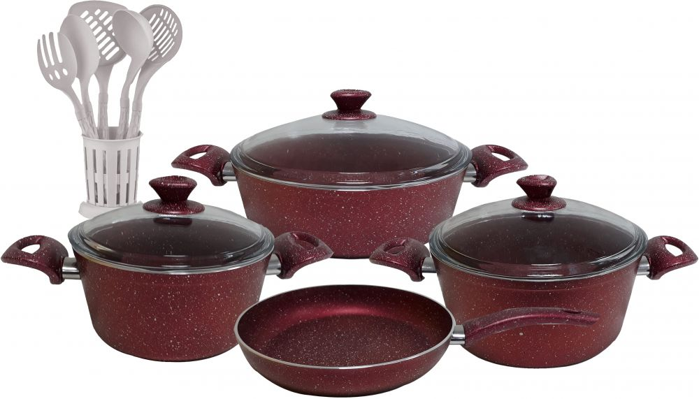 Regal In House - Turkish Granite cookware set 13 pcs with 6-pcs Service set - Pyrex glass lids - Red