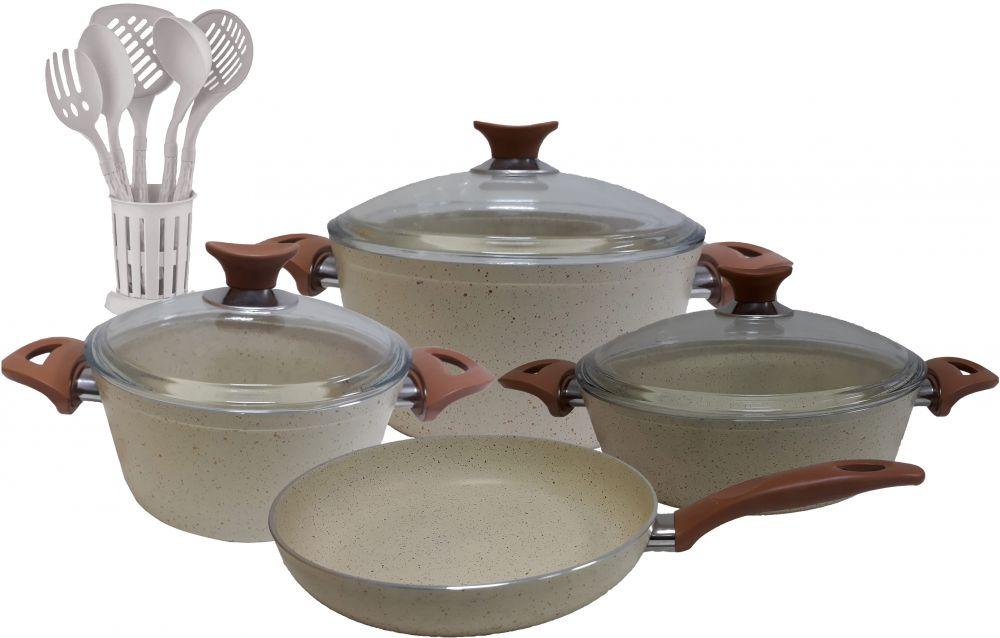 Regal In House - Turkish Granite cookware set 13 pcs with 6-pcs Service set - Pyrex glass lids - Beige