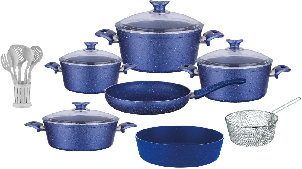 Regal In House - Turkish Granite cookware set 18 pcs with 6-pcs Service set - Pyrex glass lids