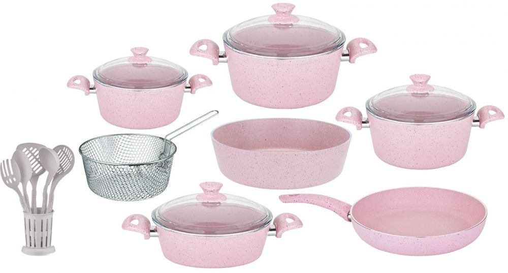 Regal In House - Turkish Granite cookware set 18 pcs with 6-pcs Service set - Pyrex glass lids - Pink