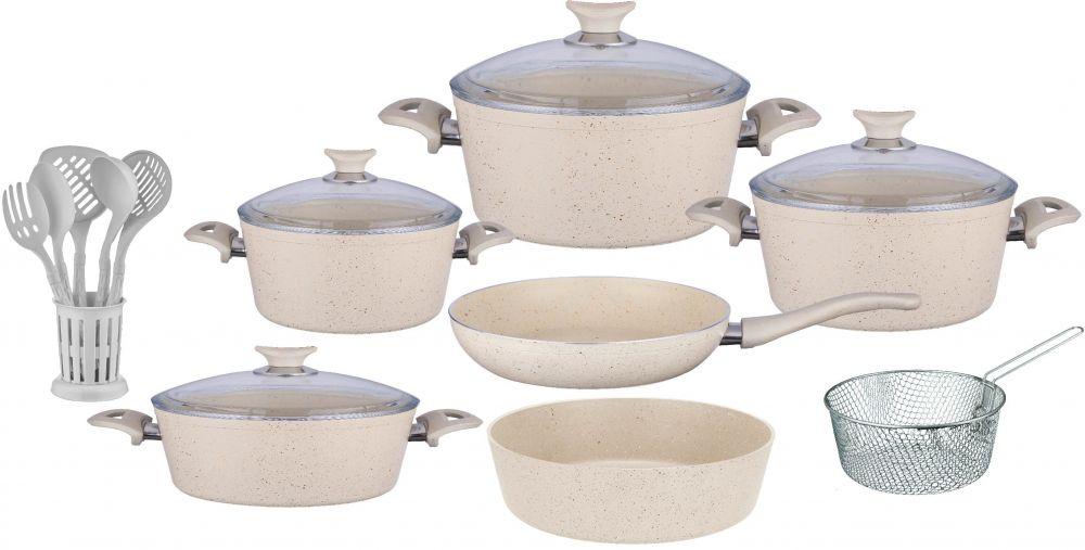 Regal In House - Turkish Granite cookware set 18 pcs with 6-pcs Service set - Pyrex glass lids - Beige