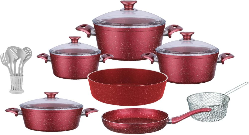 Regal In House - Turkish Granite cookware set 18 pcs with 6-pcs Service set - Pyrex glass lids - Red