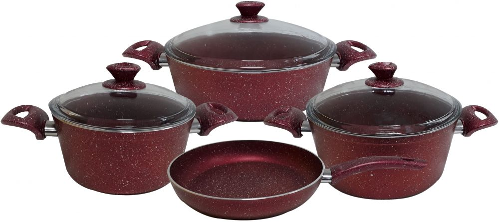 Regal In House - Turkish Granite cookware set 7 pcs - Pyrex glass lids - Red