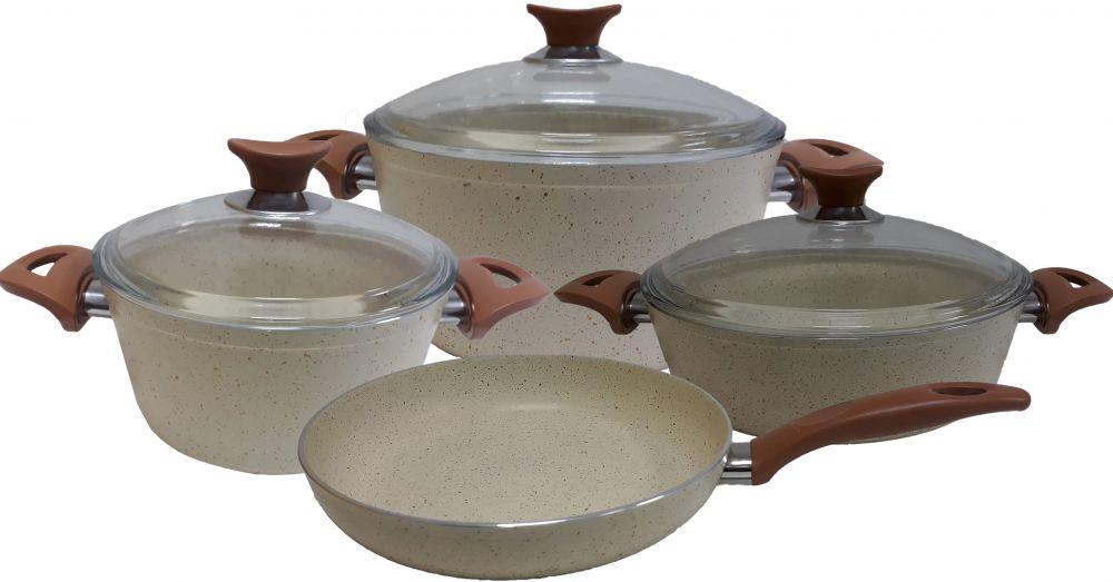 Regal In House - Turkish Granite cookware set 7 pcs - Pyrex glass lids