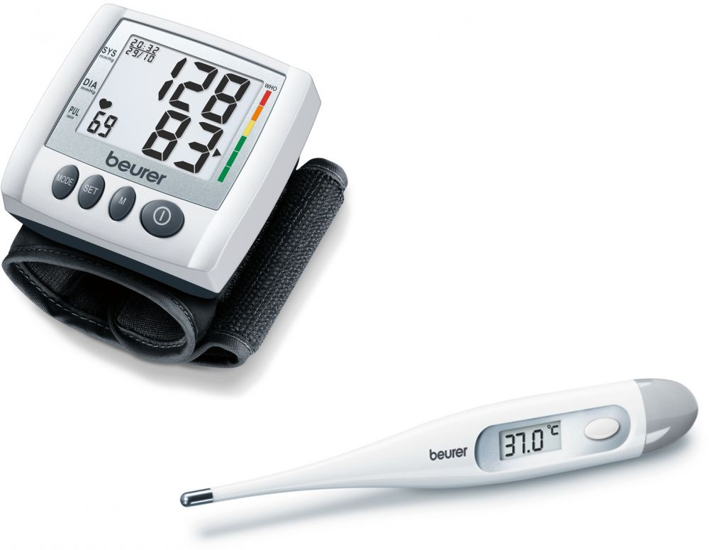 Set of Beurer Wrist Blood Pressure Monitor (Model BC 30) and Beurer Body Thermometer (Model FT 09)