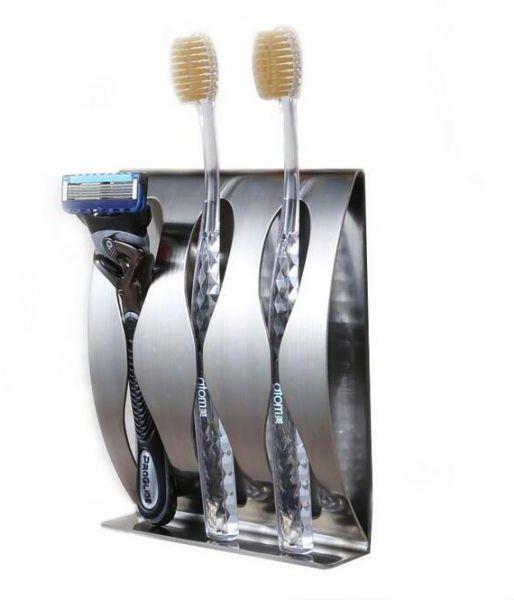 Stainless Steel Toothpaste Dispenser Toothbrush Holder Set-Silver