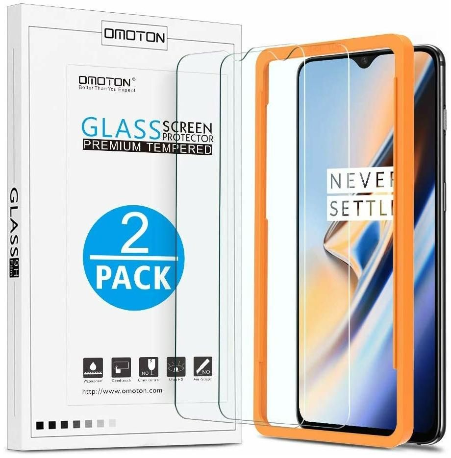 Tempered Glass Screen Protector, OnePlus 6T 6.41 inch [2 Pack] OMOTON