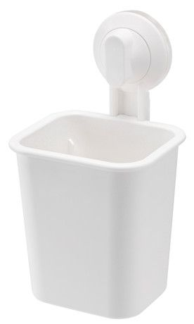 Toothbrush Holder with Suction Cup - White, ABS Plastic, H18cm