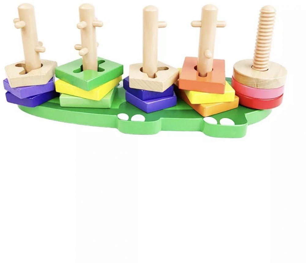 لعبة منتسوري مطابقة الاشكال والألوان في الأوتاد لعبة التعليم المبكر للطفل