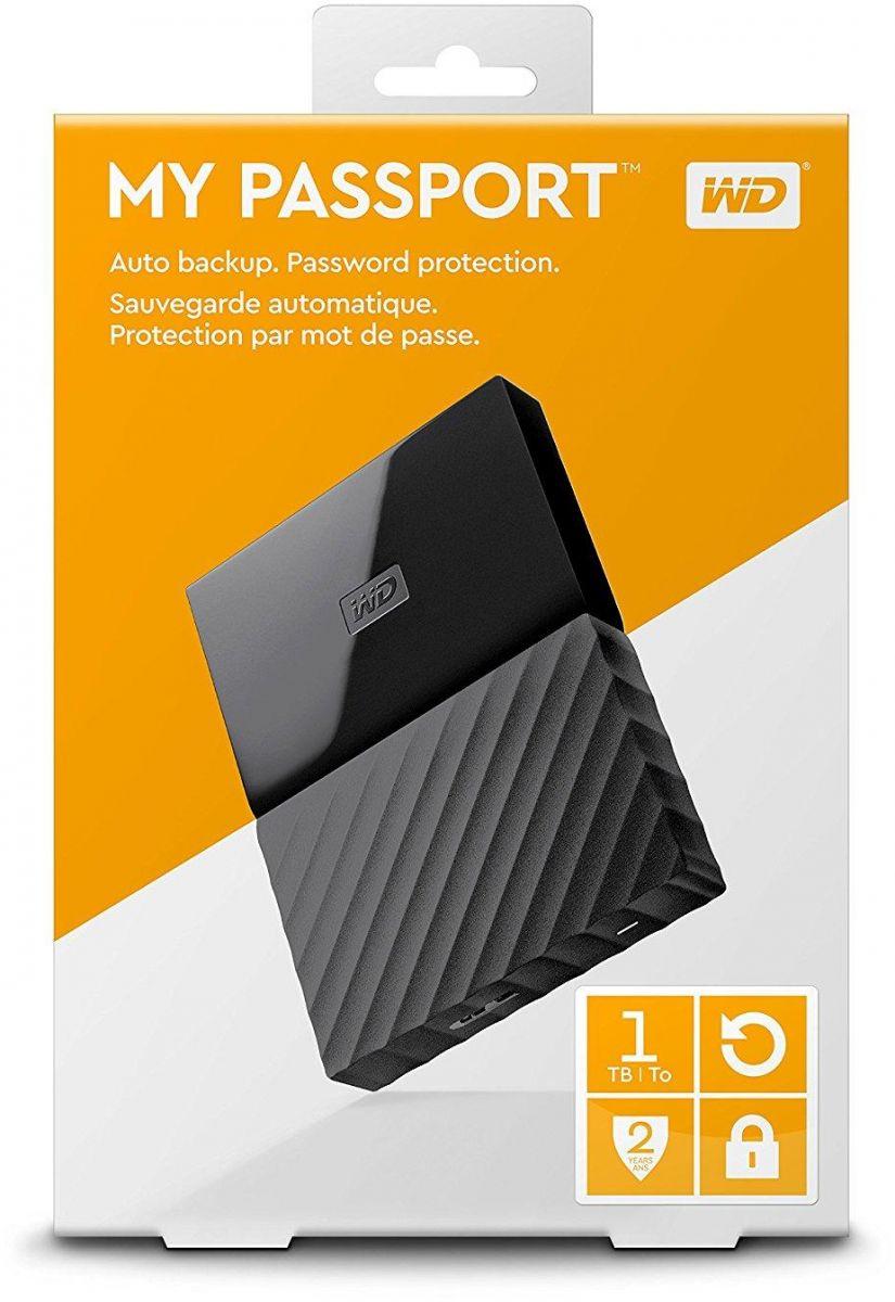 WD 1TB My Passport Portable External Hard Drive USB 3.0 - Black, WDBYNN0010BBK