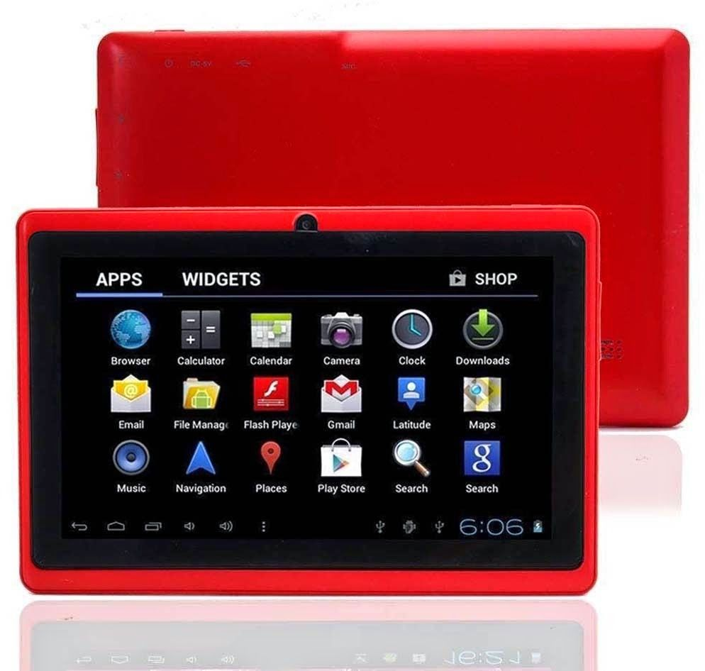 Wintouch Q75S Tablet's rechargeable Lithium Ion battery - 7 inch, 8GB, 512MB RAM, WiFi, Red