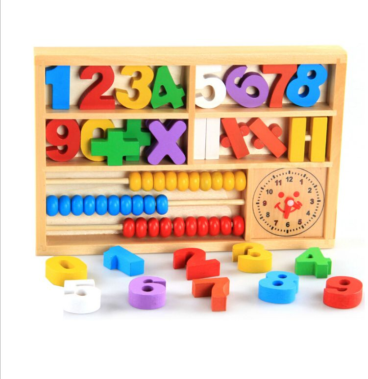 Wooden building block toy, children puzzle early education teaching aid calculation rack