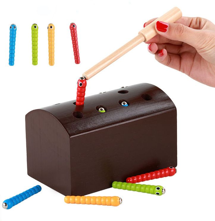 Wooden magnetic fishing catching bug game toy caterpillar Montessori early education puzzle parent-child interactive toys