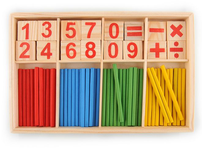Wooden Math Early Learning Toy for Kids with Wooden Colored Pencils